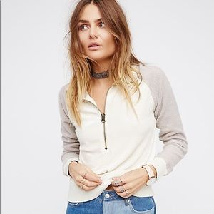 Free people feelin velour half zip pullover